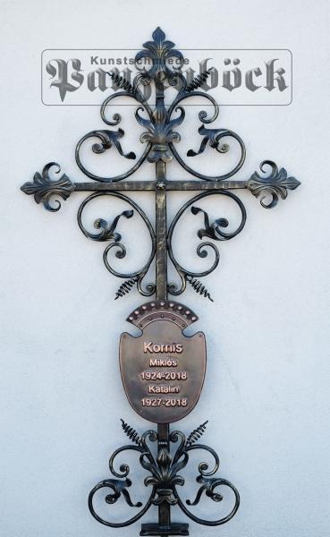 Grabkreuz Schmiedeeisen Kupfertafel